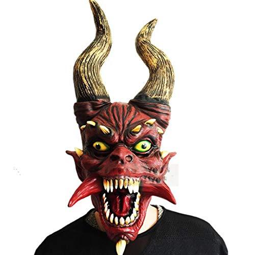 WYXMJ Rote Hörner Fake Face Perücken zeigen Requisiten Latex Whole Person Dragon Corner Mask