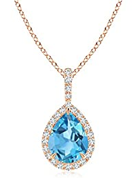 Women's Day Offer - Diamond Halo Pear Shaped Swiss Blue Topaz Drop Pendant