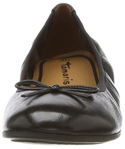 Tamaris 22116, Ballerine Donna Nero (cuir Noir)