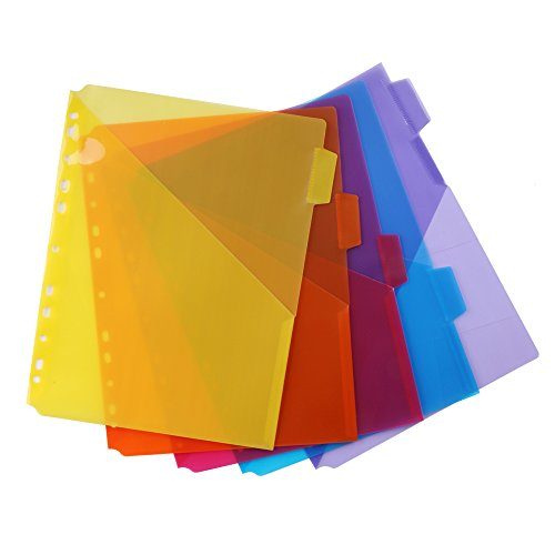 Eagle Ein-Taschen-Register aus Kunststoff, Buchstabengröße, 5 mehrfarbige Tabs, integrierte Namenslasche, passt für Standard-3-Ring-Ordner (Trennwände Für 3-ring Binder)