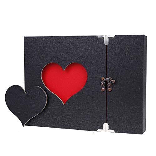 Cobee álbum A4 Corazón Amor Forma Memo Cuaderno Libro de Recuerdos con Paquete de Regalo para Amigo de la Familia (Negro)