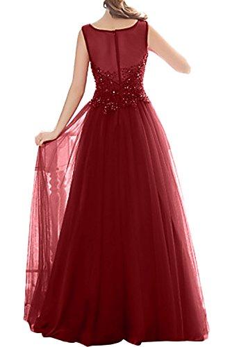 Gorgeous Bride Fashion Rundkragen Lang A-Linie Satin Tüll Spitze Abendkleider Lang Festkleider Ballkleider Fuchsia