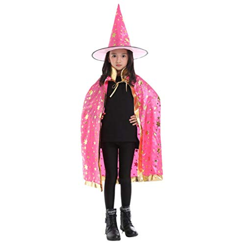 IZHH Kinder Jungen Mädchen Neuheit Feenhafte Nymphe Pixie Halloween Cosplay Karneval Zubehör Weihnachten Cosplay Kostüm Zusatz, Gedruckt Hexe Magischer Zauberer Umhang Cape Schal Wrap Robe + Hut-Set