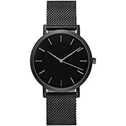 Tonsee Classic Women's Men's Wrist Watch Stainless Steel Strap Quartz Business Watches, Black
