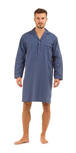 Camicia da notte da uomo, in cotone, motivo a quadri Carreaux bleu Medium