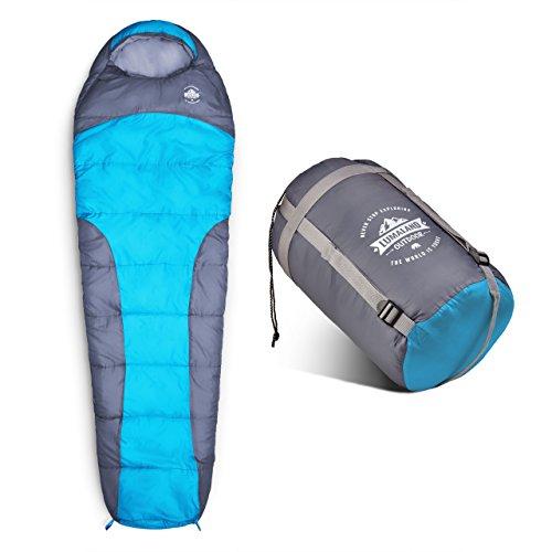 Lumaland Outdoor Schlafsack Mumienschlafsack, 230 x 80 cm, inklusive Packsack, 50 x 25 cm gepackt, türkis