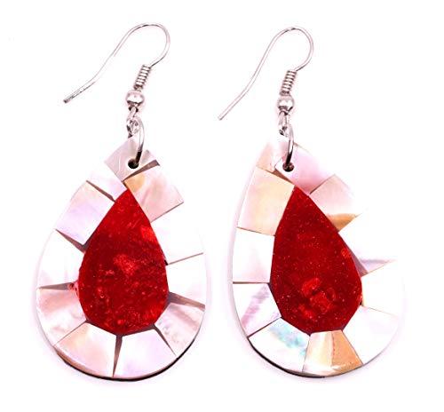 18 - Pendientes de nácar con concha artesanal, étnico, diseño étnico, color coral rojo