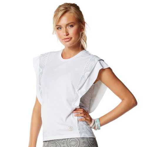 Zumba Fitness Damen Top Aztec Layered Sleeve Tee, Wear It Out White, L, Z1T00578-WIWH (Tee Womens Layered)