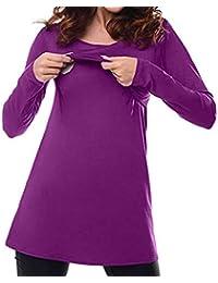 QinMM Camiseta de Lactancia Maternidad Lisos Camisa Mujer Blusa Breastfeeding Embarazadas Premamá Primavera otoño Tops