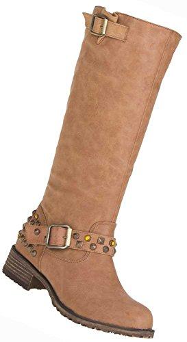 Boots Deko Nieten Used Stiefel Schuhe Damen Optik Camel YOHv4q