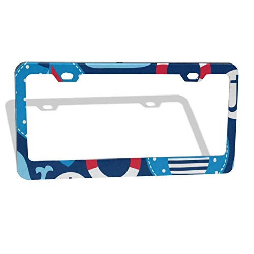FunnyCustom License Plate Frame Seamless Sailing Ships and Whales Amazing Aluminum License Plate Set Metal Tag Holder 12 x 6 Inch 2 Packs - Papa License Plate Frame