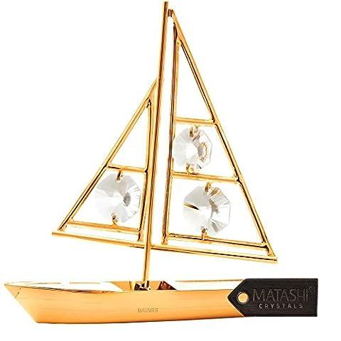 24K Vergoldet Kristall Nieten Schiff Ornament, durch matashi, Sailboat