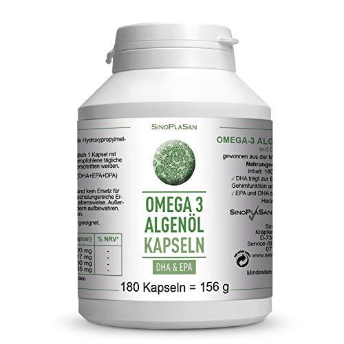 Omega-3 Algenöl || 180 Kapseln || je 417mg DHA & 150mg EPA || OHNE Carrageen || vegan || 100{b93a529db1bc0935df783df99f6445df1af5158d79f4379f257979f43f8fc632} natürlich || SinoPlaSan