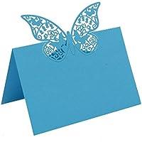 bitfly 100piezas Buttefly asiento de tarjetas de lugar tarjeta tarjetas de nombre para números de mesa con soportes para bodas cumpleaños fiestas y otras celebraciones decoración