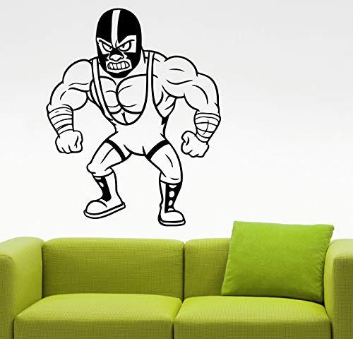 JXNY Muskelmann Wrestling lustige Aufkleber Teen Zimmer Wandaufkleber Vinyl Wall Decal Aufkleber 57 X 71 cm (Wrestling Video-spiele)
