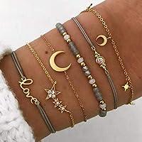 Edary Lot de 6 bracelets boho Étoiles et lune en perles et pierres précieuses bracelet fait à la main chaîne de main…