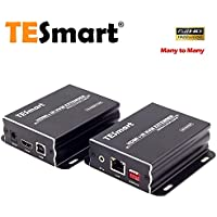 TESmart 120M HDMI KVM Extender Over TCP/IP Ethernet/Over Single Cat5e/cat6 Cable 1080P with IR Remote - Up to 393ft (One Sender + One Receiver)