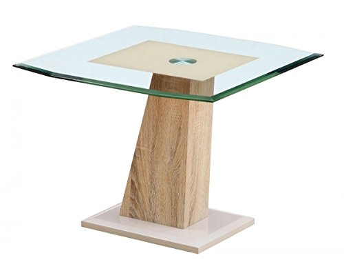 Evi Glass Top Modern Lamp End Table Stand Display Cream Oak H:49.5 W:65 D:65 Cm