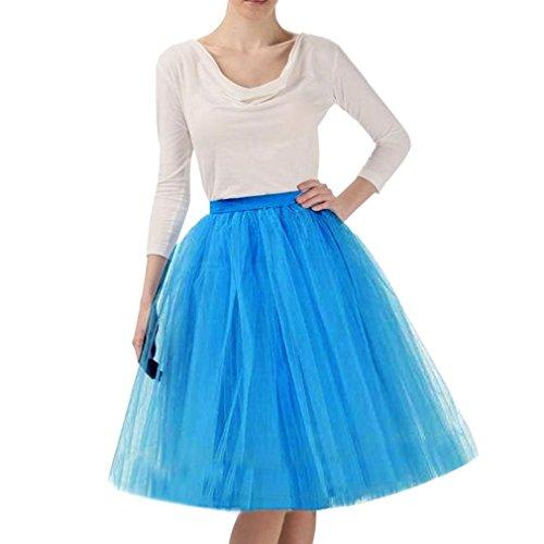Wedding Lady - Abito da donna, gonna al ginocchio, tutù in tulle da sposa Blue