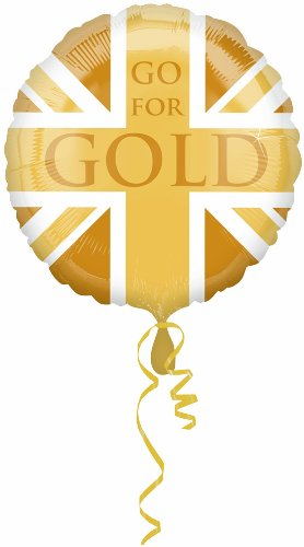 Amscan PPP 18-inch Great Britan Gold Union Flag Balloon
