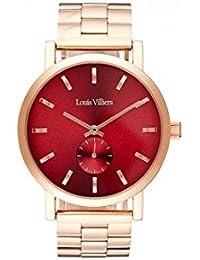 Reloj mujer Louis Villiers reloj 40 mm en acero rojo y pulsera rosa dorado en acero lv2069