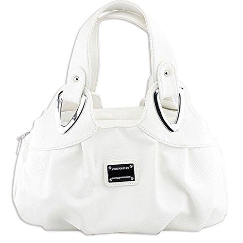 KAXIDY Damen PU Leder Handtaschen Schultertaschen Tasche Handtasche Umhängetasche Weiß
