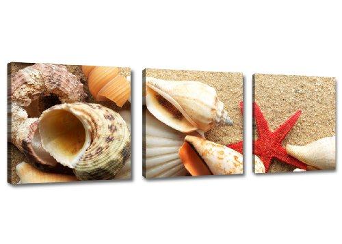 Visario 4217–immagini e stampe artistiche su tela, 150x 50cm, spiaggia tre pezzi