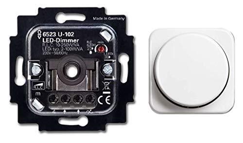 BUSCH-JÄGER, LED-Drehdimmer (LED Dimmer) 6523 U-102 (6523U 102) 6523U102 mit Zentralscheibe 2115-214 in Reflex Si alpinweiß
