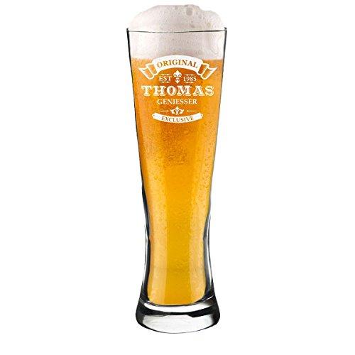 Modernes Weizenbierglas mit Motiv-Gravur Original-Exklusive 0,3l