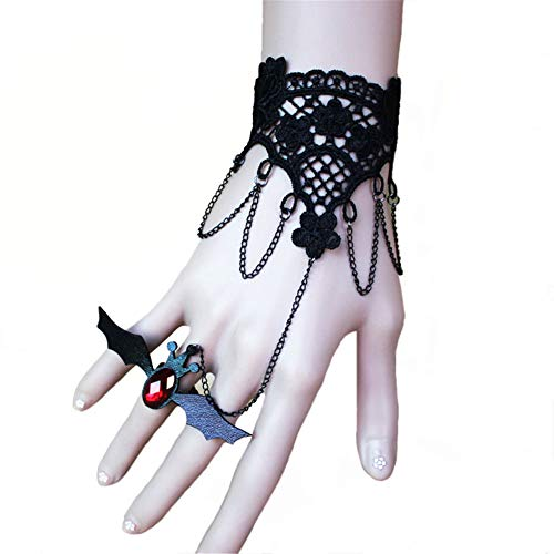 (OOFAY Retro Gothic Black Lace Armband, Steampunk Vampire Slave Bat Wristband Ring Wedding Accessories für Festive Ball Halloween Party)