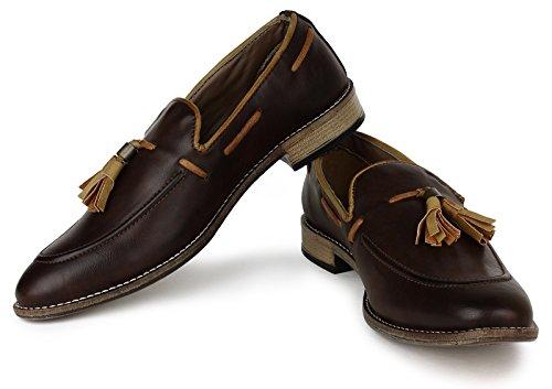 Adreno Faux Leder Slipper Modernen Stil Casual Herren Schuhe - Wählen Größe Braun