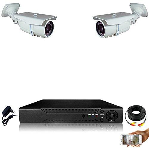 Kit-videovigilancia-2-Cmaras-tubos-Pro-Full-AHD-1080P-Sony-24-MP--incluye-2000-GB-2-cables-de-20-m-sin-pantalla