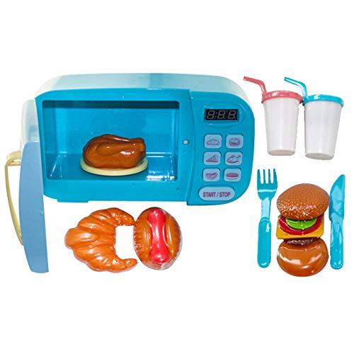 ZUJI 10er Set Mikrowelle Spielzeug Küchenspielzeug Kinder Mikrowelle mit Licht Küchen Spielzeug für Kinderküche Rollenspiel (Blau)