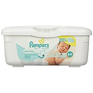 Pampers Baby Wipes Tub, Sensitive with Touch of Milk Essentials – 64 Wipes/Tub
