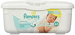 Pampers Baby Wipes Tub Sensitive (64 Sheets per Tub)