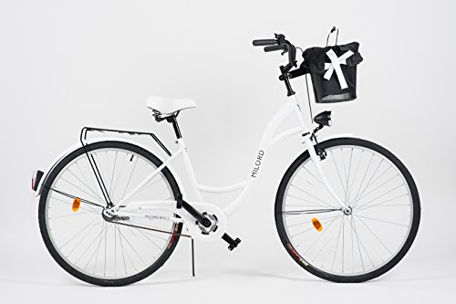 Milord. 2018 Komfort Fahrrad mit Korb, Hollandrad, Damenfahrrad, 3-Gang, Weiß, 28 Zoll