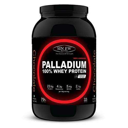 Sinew Nutrition Palladium Whey Protein with Digestive Enzymes, 1 kg (Chocolate)