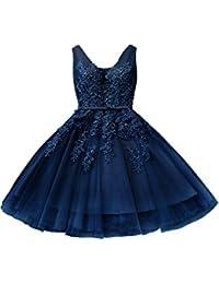 Damen Elegant Spitzen Abendkleid Braujunfernkleid Ballkleid Perlstickerei Tüll Kurz Rückenfrei Gr.32-46