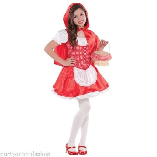 amscan- Lil Red Riding Deguisement Fille 6-8 Ans Petit Chaperon Rouge, 999709