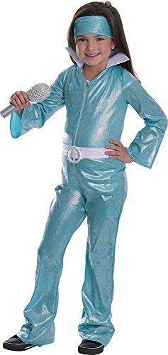 Outfits Jahre 1970er (Mädchen 1970er Jahre Ausgefallen Party Outfit Musikfestival Verkleidung Pop Star Diva Kostüm - Blau,)