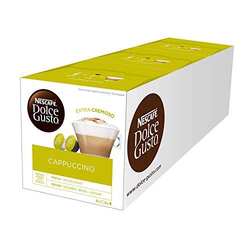 NESCAFÉ Dolce Gusto Cappuccino / 48 Kaffeekapseln / Arabica und Robusta Bohnen / Vollmundiger Kaffee und lockerer Milchschaum / Aromaversiegelte Kapseln / 3er Pack (3 x 16 Kapseln)
