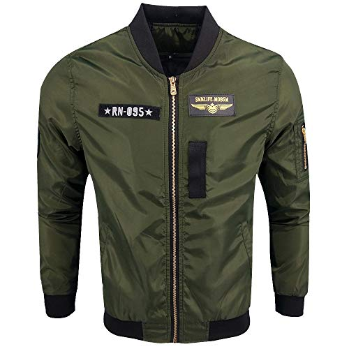 Xmiral Herren Jacke Mantel Herbst Winter Biker Motorrad Zipper Outwear Einfach Stickerei Top (3XL,Armeegrün4)