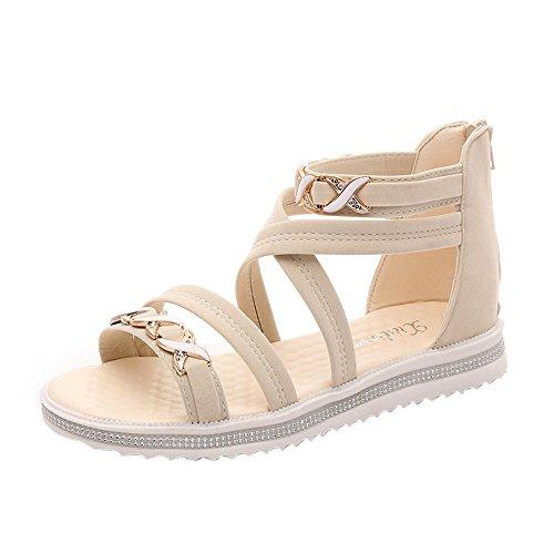 (BHYDRY Frauen Flache Schuhe Sommer Weiches Leder Freizeit Damen Sandalen(39,Beige)