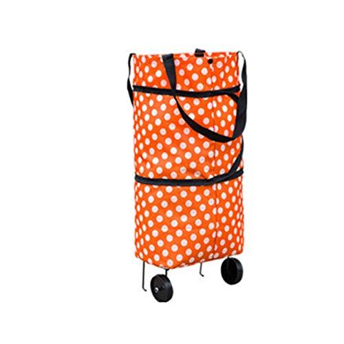 Modisches Design Große Kapazität Wasserdichte Oxford Tuch Faltbare Einkaufslaufkarren-Radtasche Traval Cart Gepäcktasche ~ orange runder Punkt