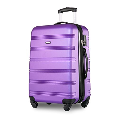Travelhouse ABS Hard shell 4 wheel Travel Trolley Suitcase Luggage set Holdall Case(28″, Purple)