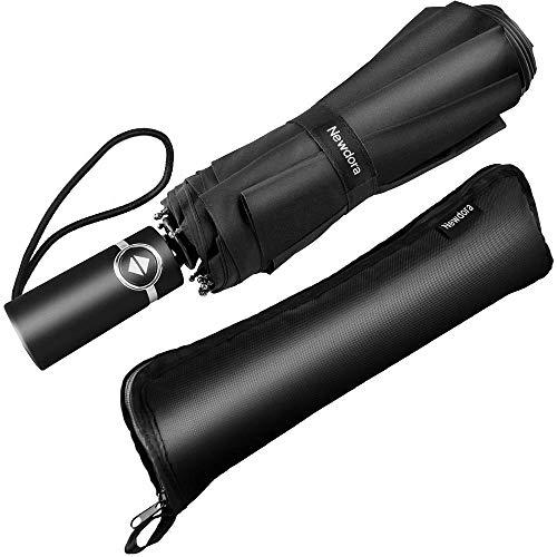 Newdora Regenschirm Taschenschirm Windproof sturmfest Auf-Zu Automatik wasserabweisend klein leicht kompakt 10 Ribs Reise Golfschirm mit Geschenktüte Trockenbeutel