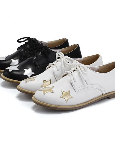 ZQ Scarpe Donna - Stringate - Casual - Punta arrotondata - Piatto - Finta pelle - Nero / Bianco , white-us3.5 / eu33 / uk1.5 / cn32 , white-us3.5 / eu33 / uk1.5 / cn32 white-us8.5 / eu39 / uk6.5 / cn40