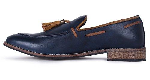 Adreno faux cuir de hommes slip-on chaussures de sport de style moderne - Choisir la taille bleu marine et marron
