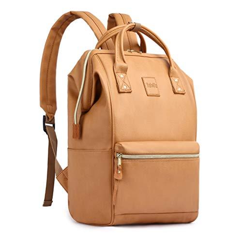 Unisex Premium Leder (HaloVa Rucksack, Premium PU Leder, Schultasche, Unisex, Reisetasche für Männer und Frauen Khaki Khaki)