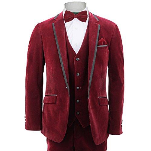 Herren 3Stück schwarz trim Blazer Hosen-Weste Maroon Wein Samt Spannbettlaken Vintage Hochzeit Party Anzug Gr. 52, kastanienbraun (3 Stück Hosen-anzug)